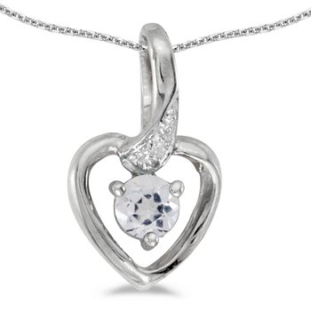 10k White Gold Round White Topaz And Diamond Heart Pendant