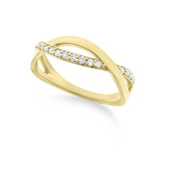 Diamond Infinity Ring in 14k Yellow Gold with 18 Diamonds weighing .18ct tw.