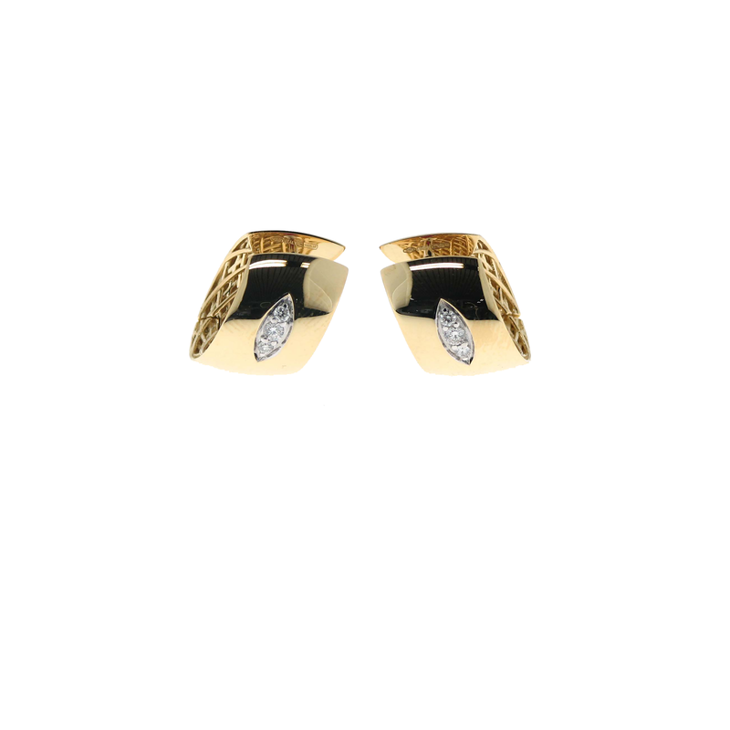 Roberto Coin 18KT GOLD HUGGIE EARRING WITH DIAMOND ACCENT