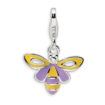 Sterling Silver Amore La Vita Rhodium-pl Polished Enameled Bee Charm