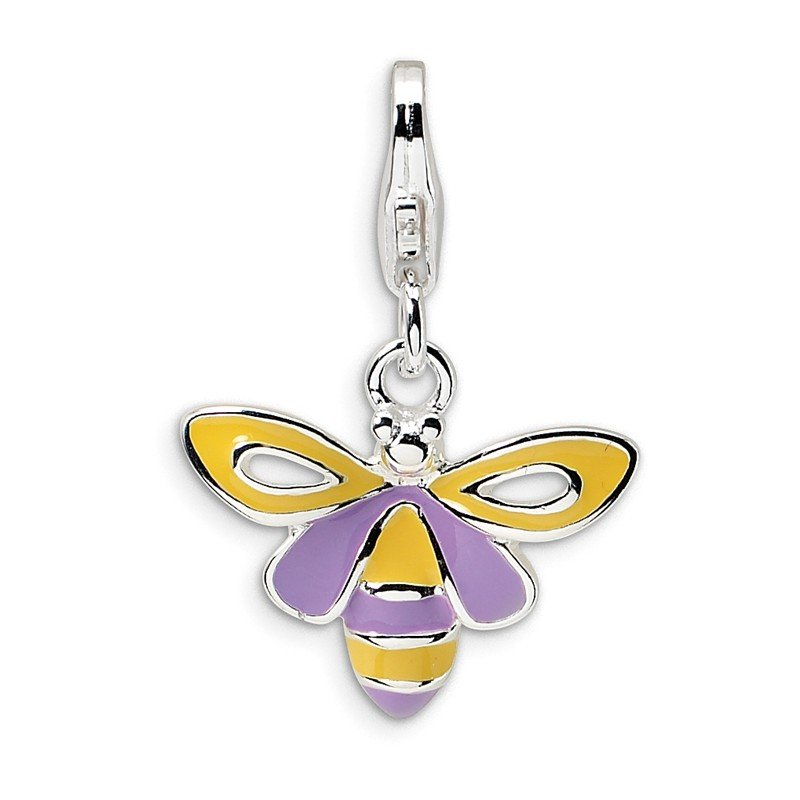 Quality Gold Sterling Silver RH Enameled Bee w/Lobster Clasp Charm