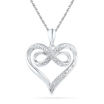 Sterling Silver Diamond Infinity Heart Pendant