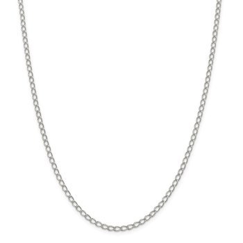 Sterling Silver 3mm Half Round Wire Open Curb Chain Anklet