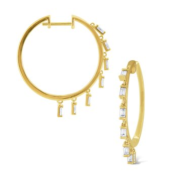 14k Gold and Diamond Mosaic Charm Hoops