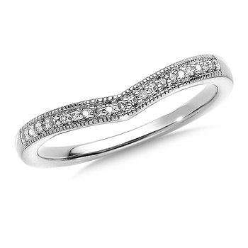 Prong set Diamond Stackable V Ring 14k White Gold