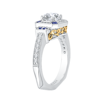 18K Two-Tone Gold Round Diamond and Sapphire Engagement Ring (Semi-Mount)