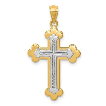 14k Two-tone Budded Cross Pendant
