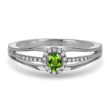 10K WG and diamond and Peridot halo style birthstone ring