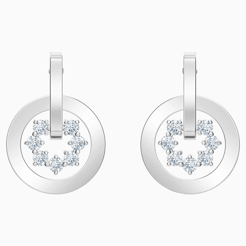 Swarovski Further Drop Pierced Earrings, White, Rhodium plated