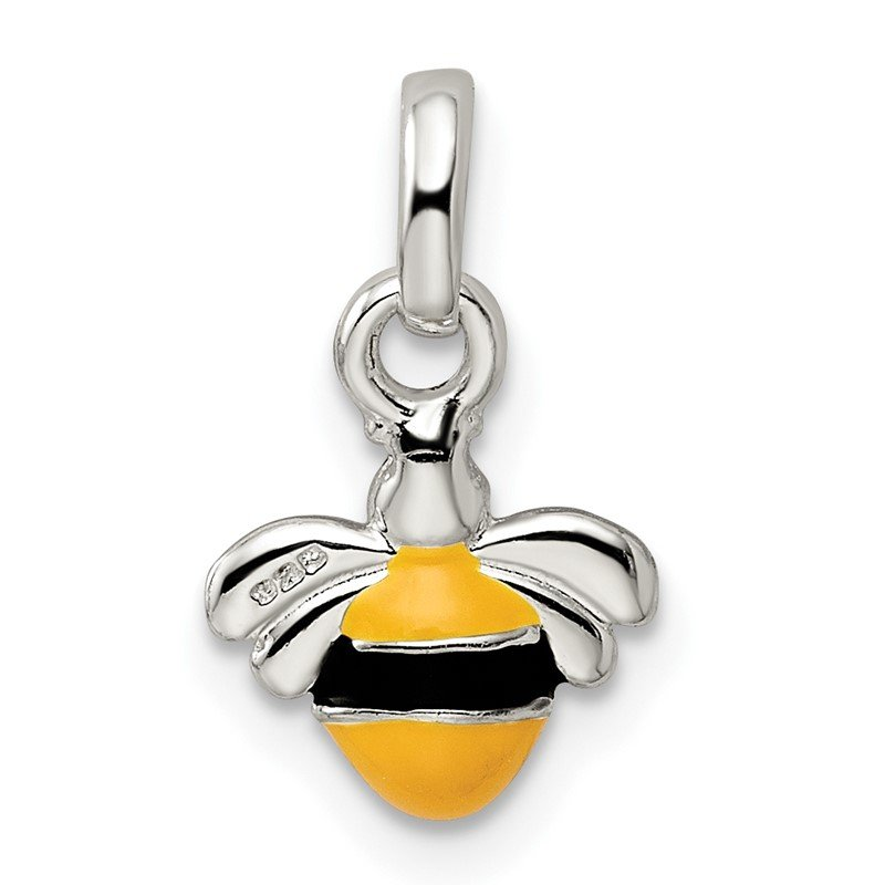 Quality Gold Sterling Silver Children's Yellow/Black Enameled Bee Pendant