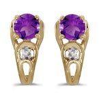 Color Merchants 10k Yellow Gold Round Amethyst And Diamond Earrings