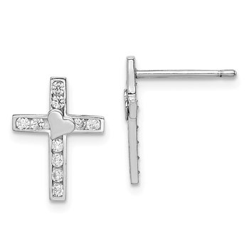 Sterling Silver Rhodium-plated Madi K CZ Children's Cross Heart Post Earrin