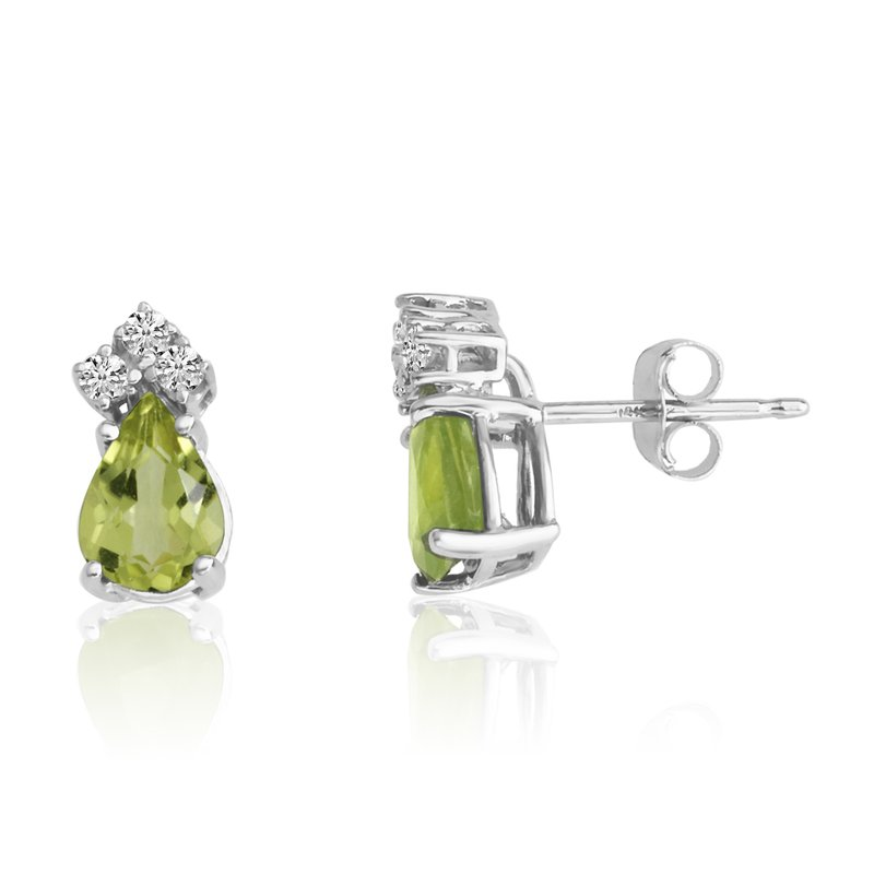 Color Merchants 14k White Gold 7X5 Pear Peridot and Diamond Earrings