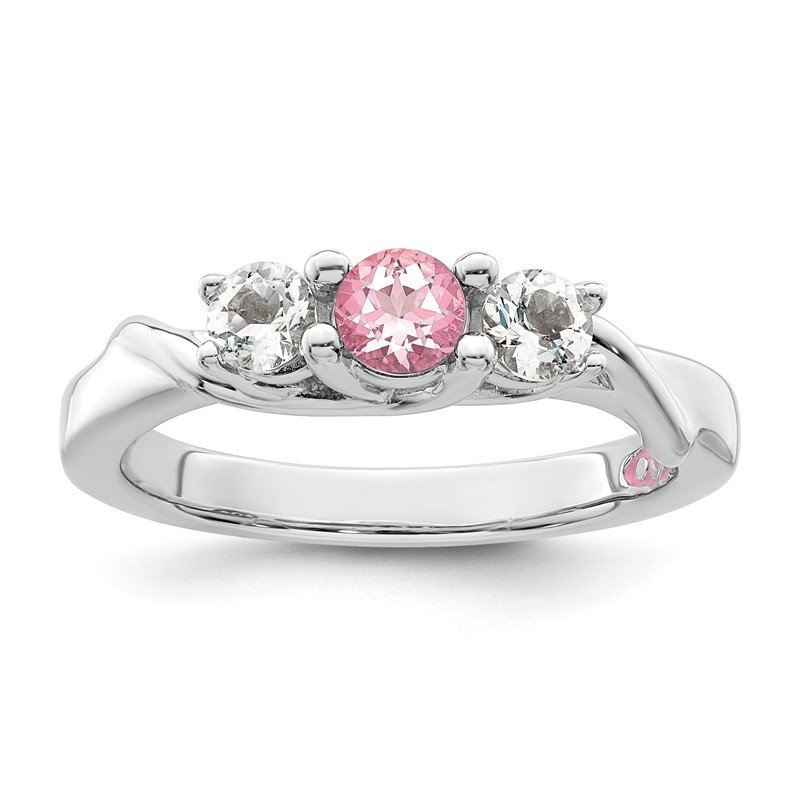 Quality Gold 10k White Gold Survivor Collection Clear/Pink Swarovski Topaz Joanna Ring