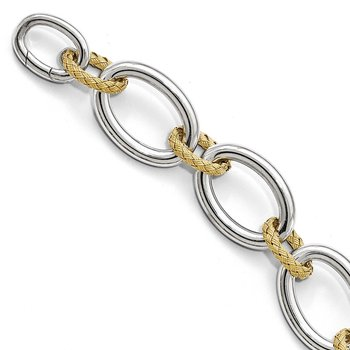 Leslie's Sterling Silver Gold-plated Polished Textured Bracelet