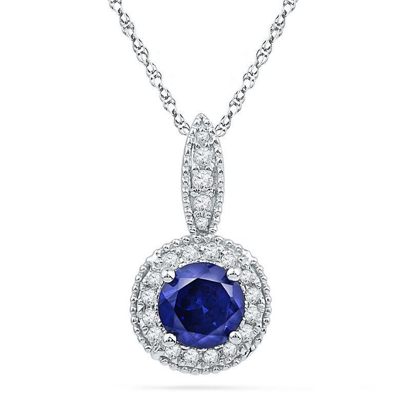 Kingdom Treasures 10kt White Gold Womens Round Lab-Created Blue Sapphire Solitaire Diamond Frame Pendant 1/6 Cttw