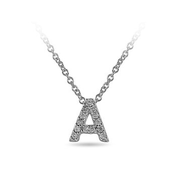 "10K WG and diamond block letters alphabet A ""chain-sliding"" pendant in prong setting"