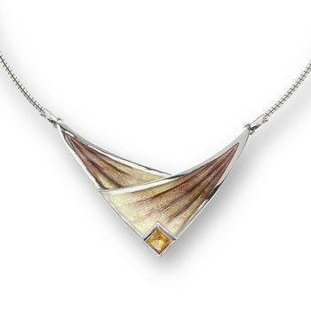 Sterling Silver Sail Necklace-Brown. Citrine