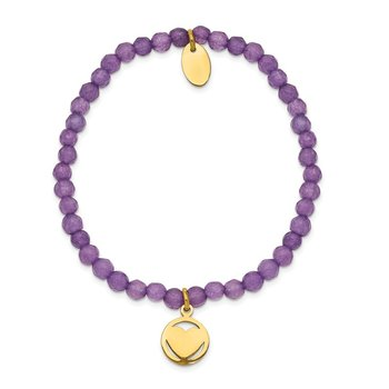 Stainless Steel Polished Yellow IP Heart Light Purple Jade Stretch Bracelet