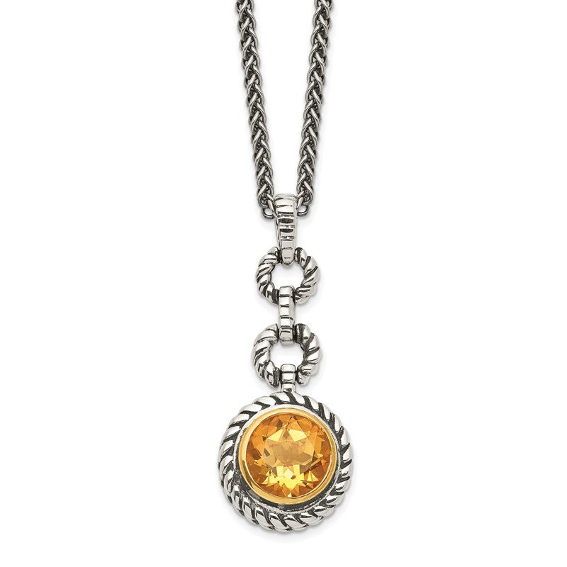 Quality Gold Sterling Silver w/Gold-tone Flash GP Citrine Necklace