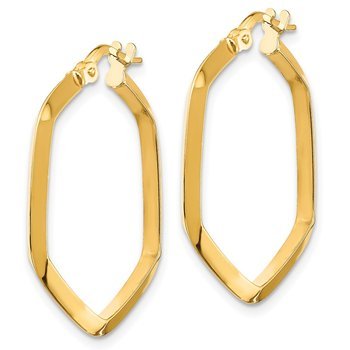 14K 2x2mm Knife Edge Hexagon Hoop Earrings