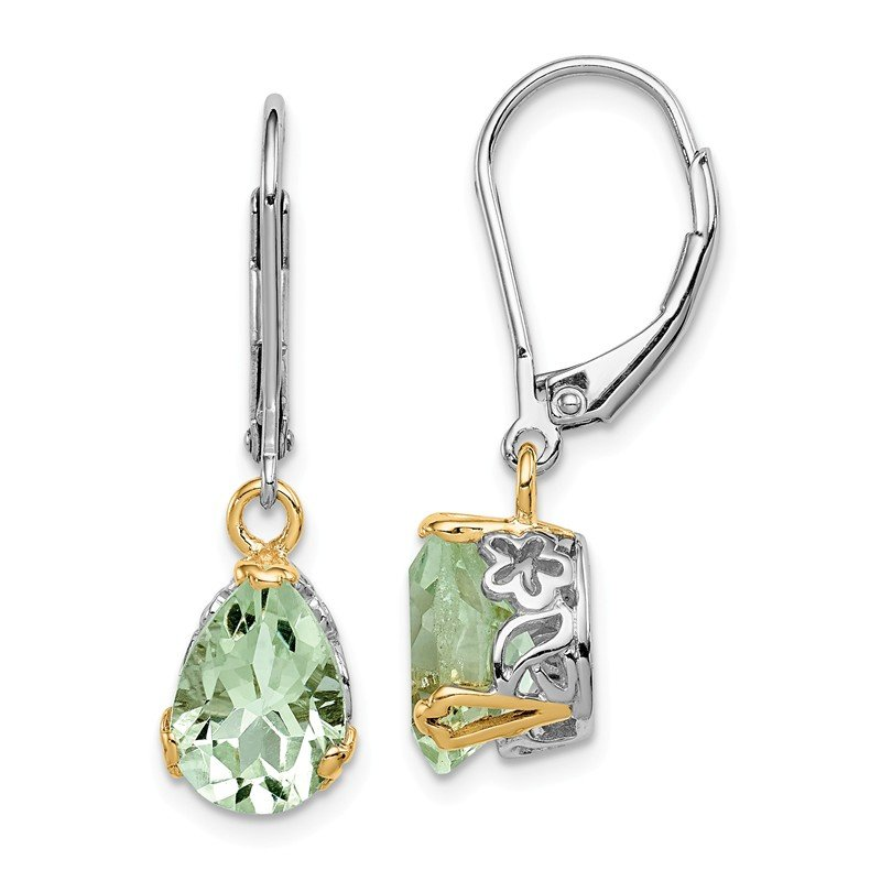 Quality Gold Sterling Silver & 14K Rhodium Plated Green Quartz Leverback Earrings