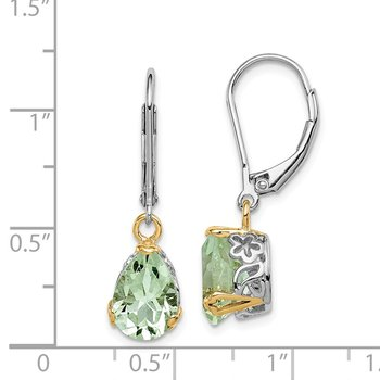 Sterling Silver & 14K Rhodium Plated Green Quartz Leverback Earrings