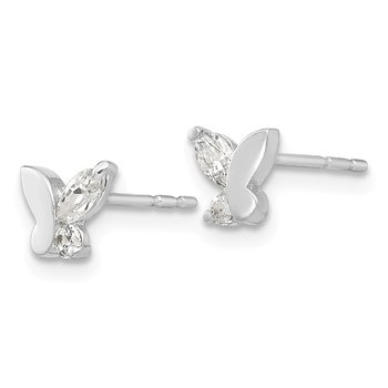 14k White Gold Madi K CZ Butterfly Post Earrings