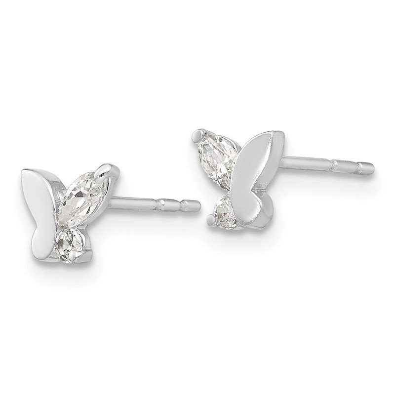 Quality Gold 14k White Gold Madi K CZ Butterfly Post Earrings