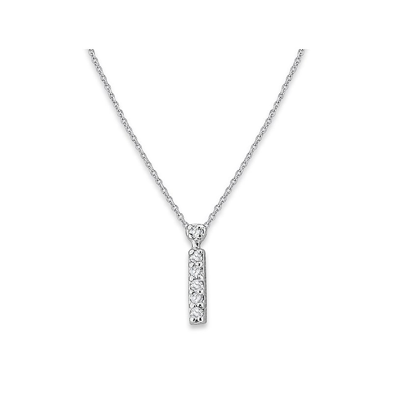 "MAZZARESE Fashion Diamond Baby Typewriter Initial ""I"" Necklace in 14k White Gold with 6 Diamonds weighing .03ct tw."