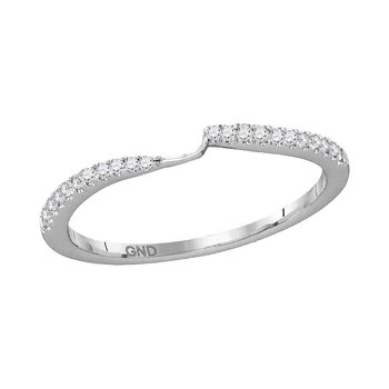 14kt White Gold Womens Round Diamond 2-stone Wedding Anniversary Band 1/10 Cttw