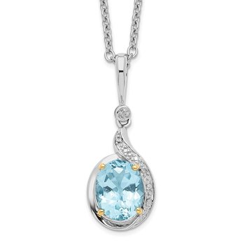 SS & 14k True Two-tone Sky Blue Topaz Diamond Necklace