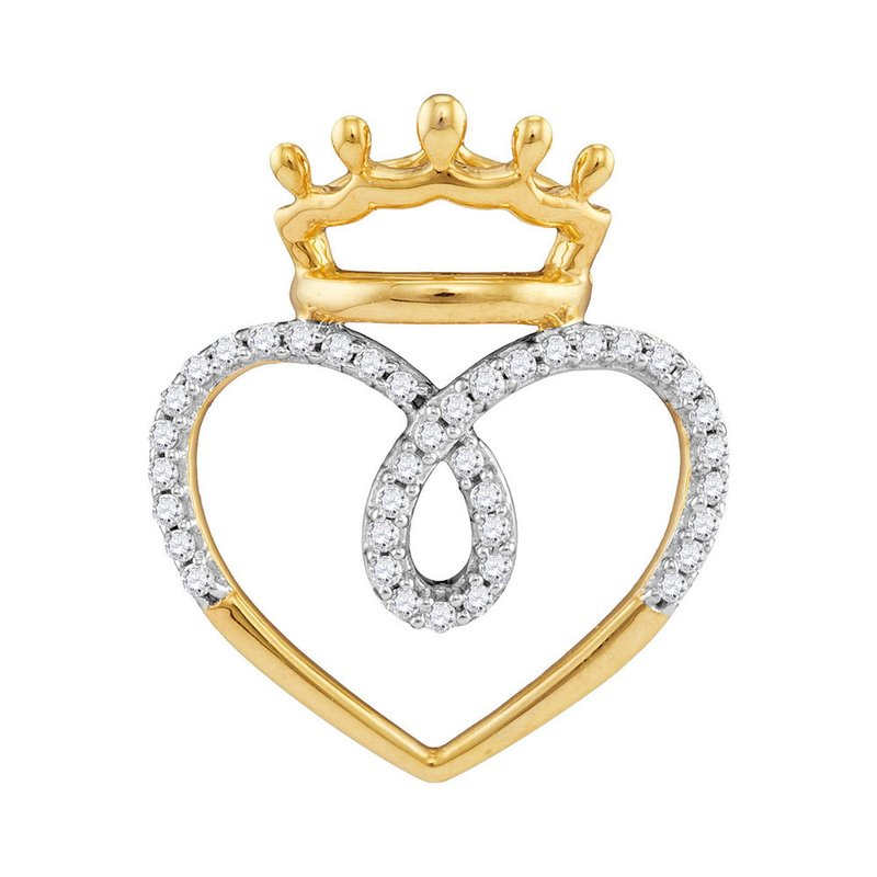 Kingdom Treasures 10kt Yellow Gold Womens Round Diamond Crowned Heart Love Pendant 1/5 Cttw