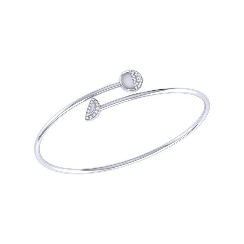 Luv My Jewelry Moon Stages Bangle in Sterling Silver