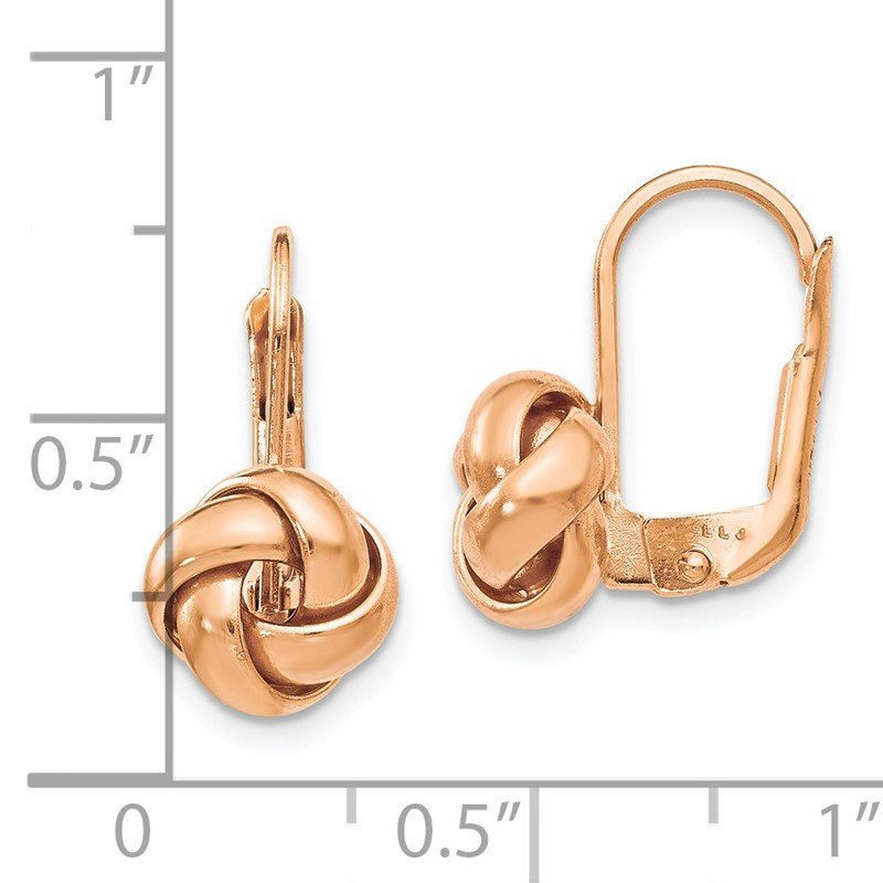 Leslie S 14k Rose Gold Polished Love Knot Leverback Earrings