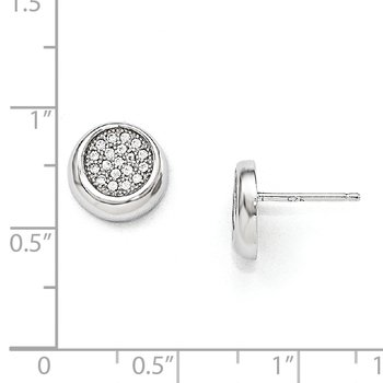 SS Rhodium-Plated CZ Brilliant Embers Circle Post Earrings