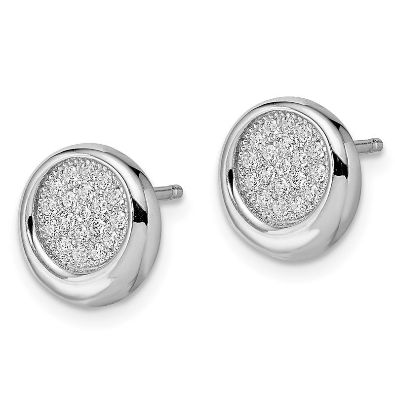Quality Gold Sterling Silver Brilliant Embers Rhodium-plated CZ Circle Post Earrings