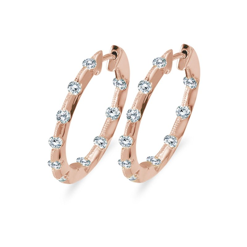 Color Merchants 14k Rose Gold 1.00 Ct Diamond Inside Outside Hoop Earrings