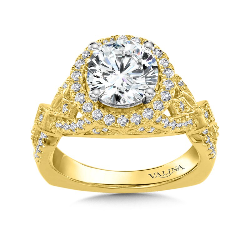 Valina Bridals Diamond Halo Engagement Ring Mounting in 14K Yellow Gold (.50 ct. tw.)