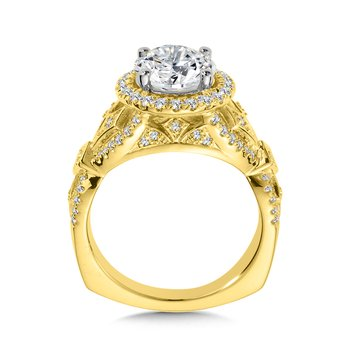 Diamond Halo Engagement Ring Mounting in 14K Yellow Gold (.50 ct. tw.)