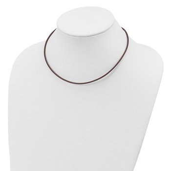 Sterling Silver 16inch 2mm Brown Leather Cord Necklace