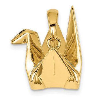 Sterling Silver Gold-plated Origami Crane Pendant