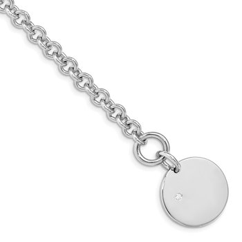 Sterling Silver Rhodium-plated .03ct Diamond Disc Bracelet