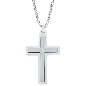 Stainless Steel Classic Cross Pendant - 24 Inch Box Chain