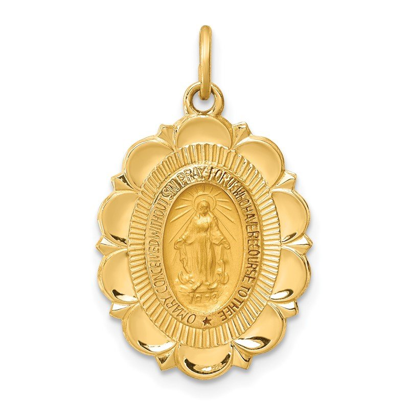 Quality Gold 14k Solid Polished/Satin Small Fancy Oval Miraculous Medal