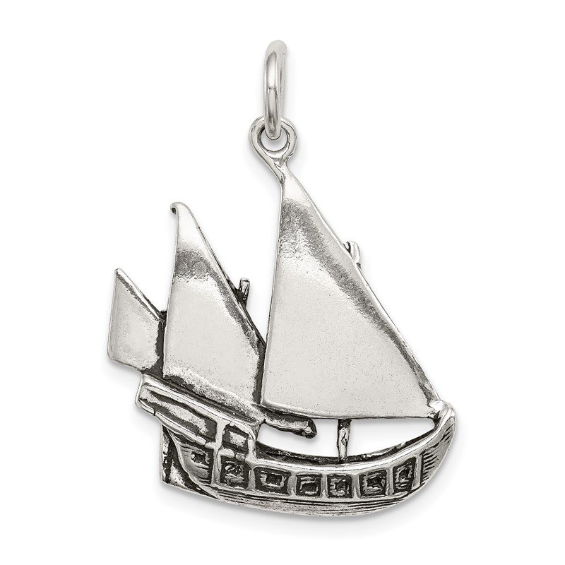 Quality Gold Sterling Silver Antiqued Boat Charm