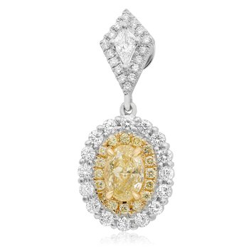 Oval Yellow Diamond Drop Earrings