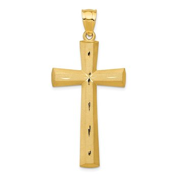 14K Satin and Diamond -Cut Cross Pendant