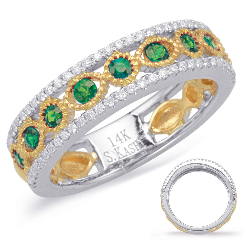S. Kashi  & Sons Yellow & White Gold Emerald & Diamond Ri