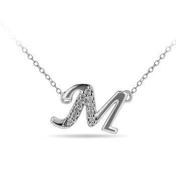 "10K WG and diamond cursive alphabet M ""Chain Sliding "" pendant in prong setting"
